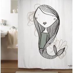 Cortina baño sirena blanco