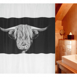 Cortina baño textil búfalo